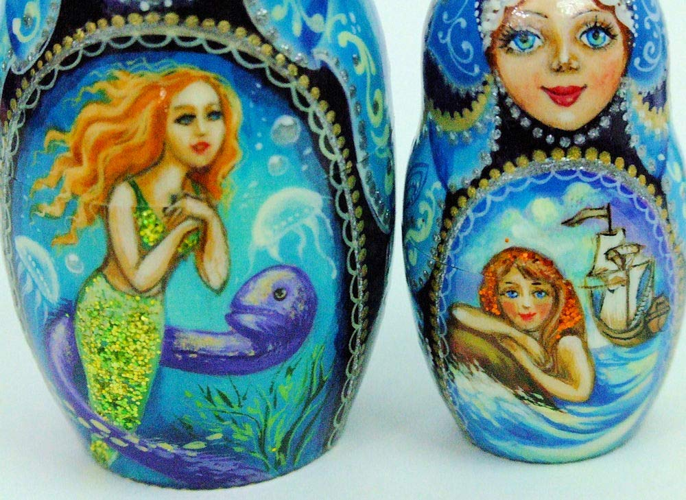 7pcs Hand Painted Russian Nesting Doll 'Mermaids by Ilyukova