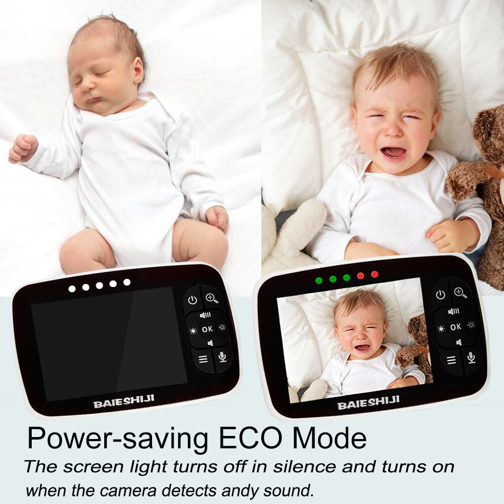 Baby Monitor, Video Baby Monitor 3.5'' Large LCD Screen, Baby Monitors with Camera and Audio Night Vision,Support Multi Camera,ECO Mode,Two Way Talk Temperature Sensor,Built-in Lullabies (3.5 inch) by BAIESHIJI (Image #6)