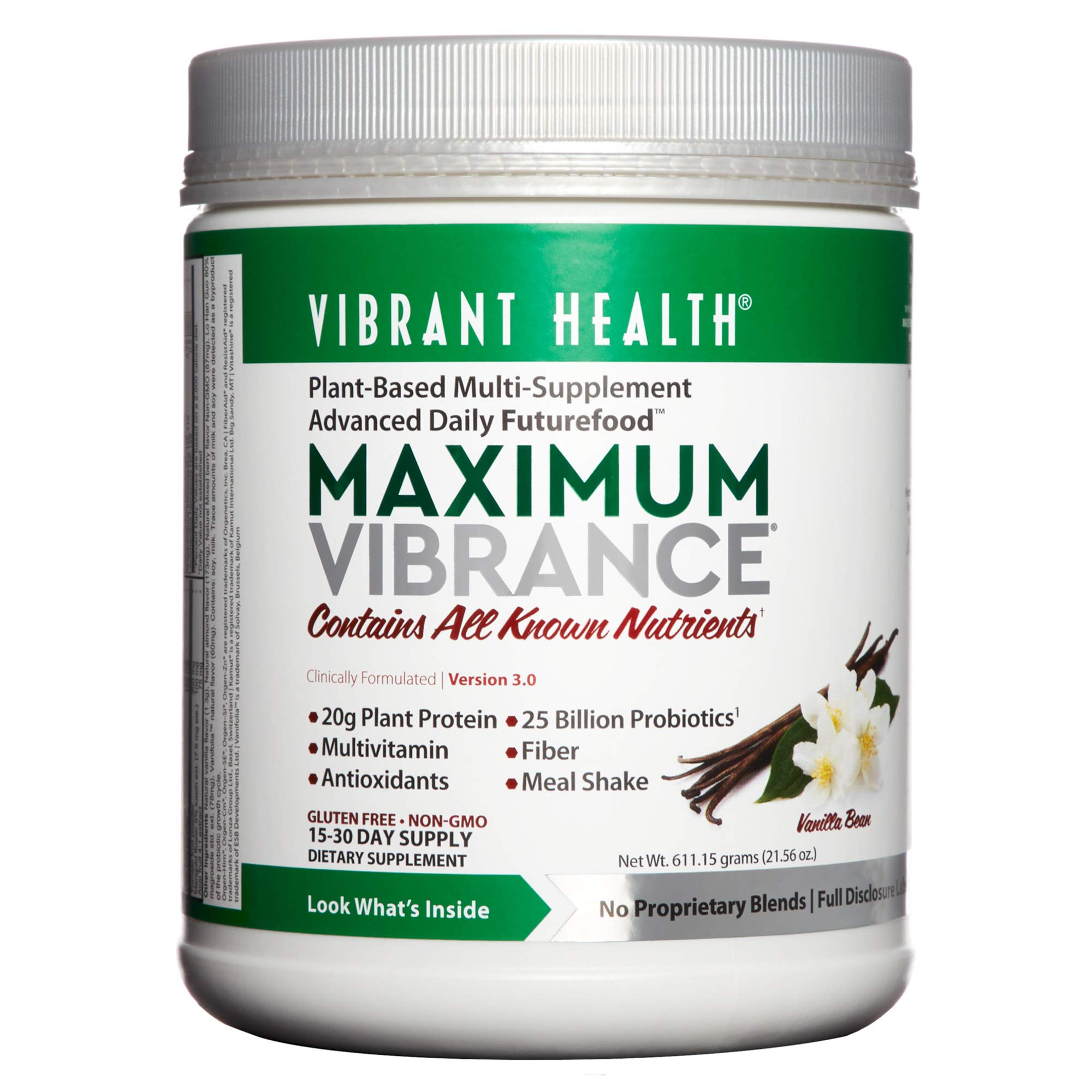 Vibrant Health - Maximum Vibrance, Plant-Based Meal Replacement Rich with Vitamins, Minerals, Antioxidants, and Protein, Gluten Free, Vegetarian, Non-GMO, 15 Servings (FFP) by Vibrant Health