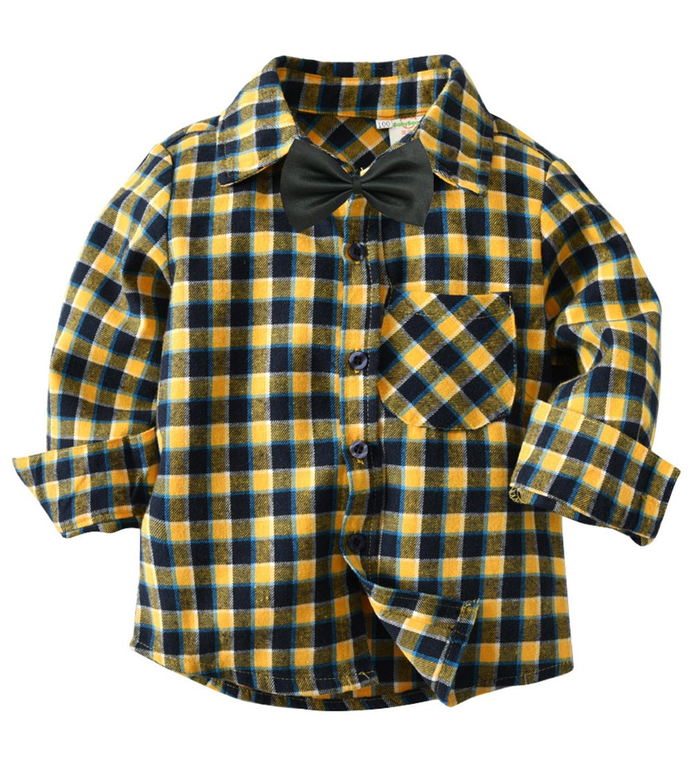 Fengbay Boys Cotton Long Sleeve Plaid Shirts with Tie Button Down Collared Casual and Tie 01 Black Tie 3T