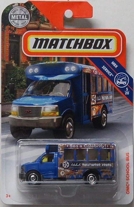 2018 GMC SCHOOL BUS HOLLYWOOD TOURS BLUE SERVICE MATCHBOX 1//64 DIECAST CAR