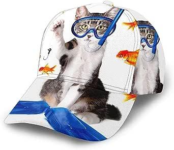 Gorra de béisbol unisex Gato Pesca Curiosidad Caza de