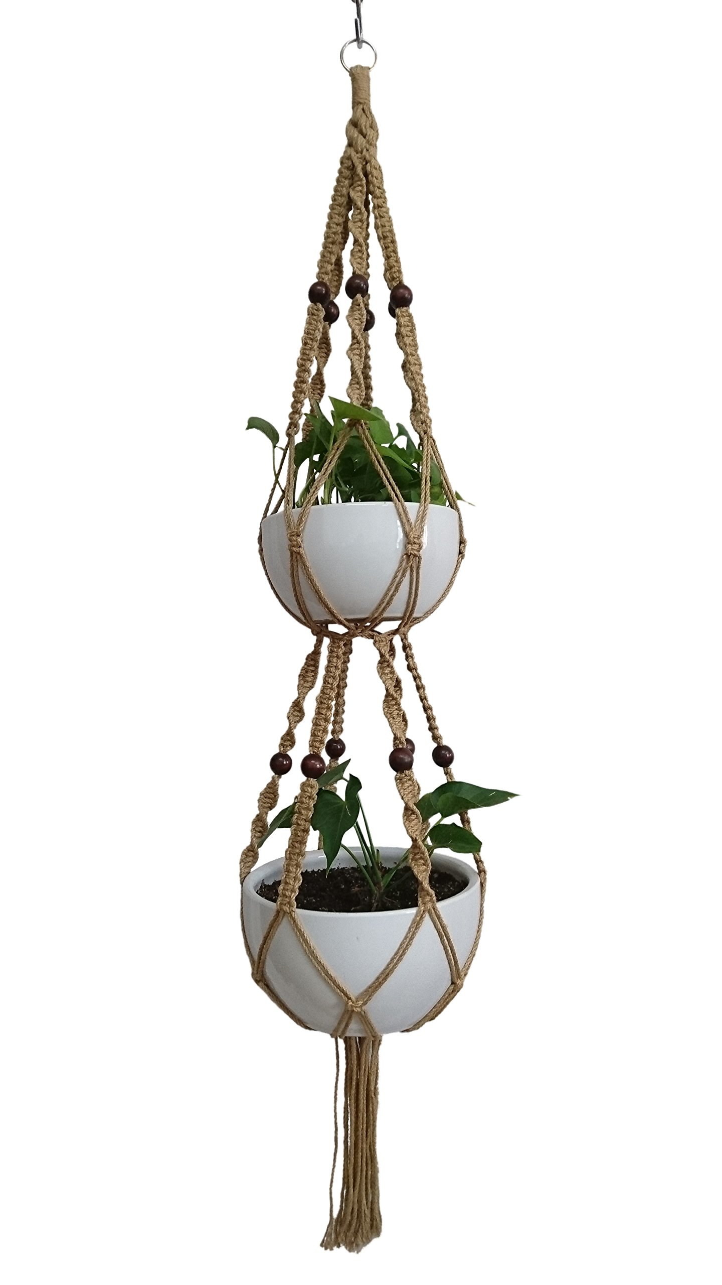 6 Legs Macrame Plant Hanger Jute Double Tiers Plant Hanger & Plant Holder with 6 pcs Round Brown Wood Bead, Hanging Planter 65-inches for 8 inch and 10 Inch Plant Pot (Without the white pot and plant)