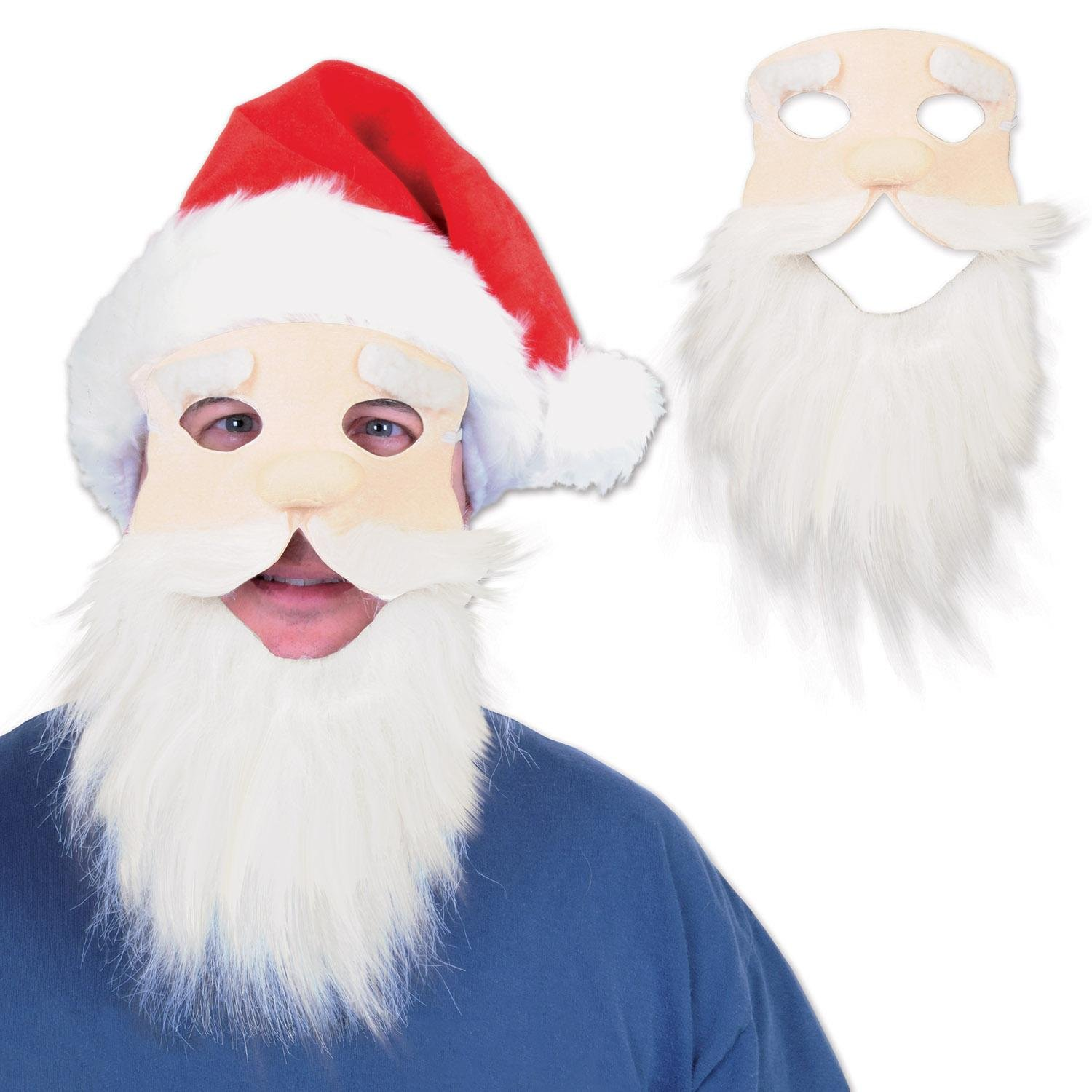 Party Central Pack of 12 Fuzzy Bearded Face with Red Hat Christmas Santa Masks by Party Central