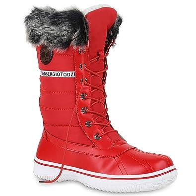 94f554dddf340b Warm Gefütterte Damen Stiefeletten Winterboots Stiefel Schuhe 128587 Rot 36  Flandell