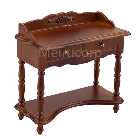 Beau Miniature 1/12 Scale Dollshouse Furniture Walnut Color Multipurpose White  Side Table
