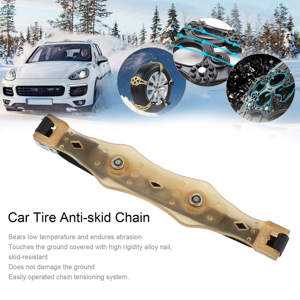 Rueda antideslizante de rueda de llanta antideslizante universal de seguridad para todo terreno Rueda de barro de nieve ajustable Tendón de llanta para ...