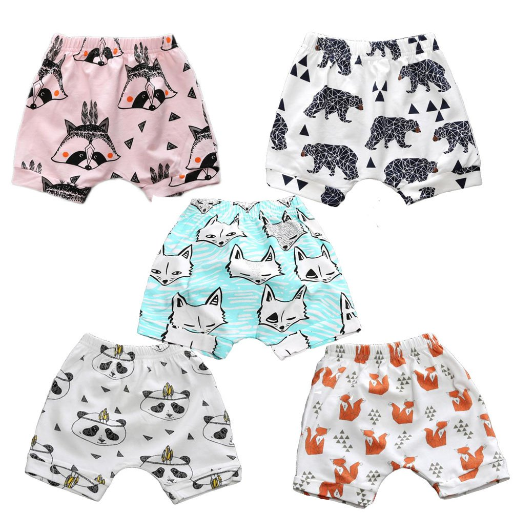 LOOLY Infant Baby Boys Girls Animal Printed Elastic Waist Cotton Haren Shorts