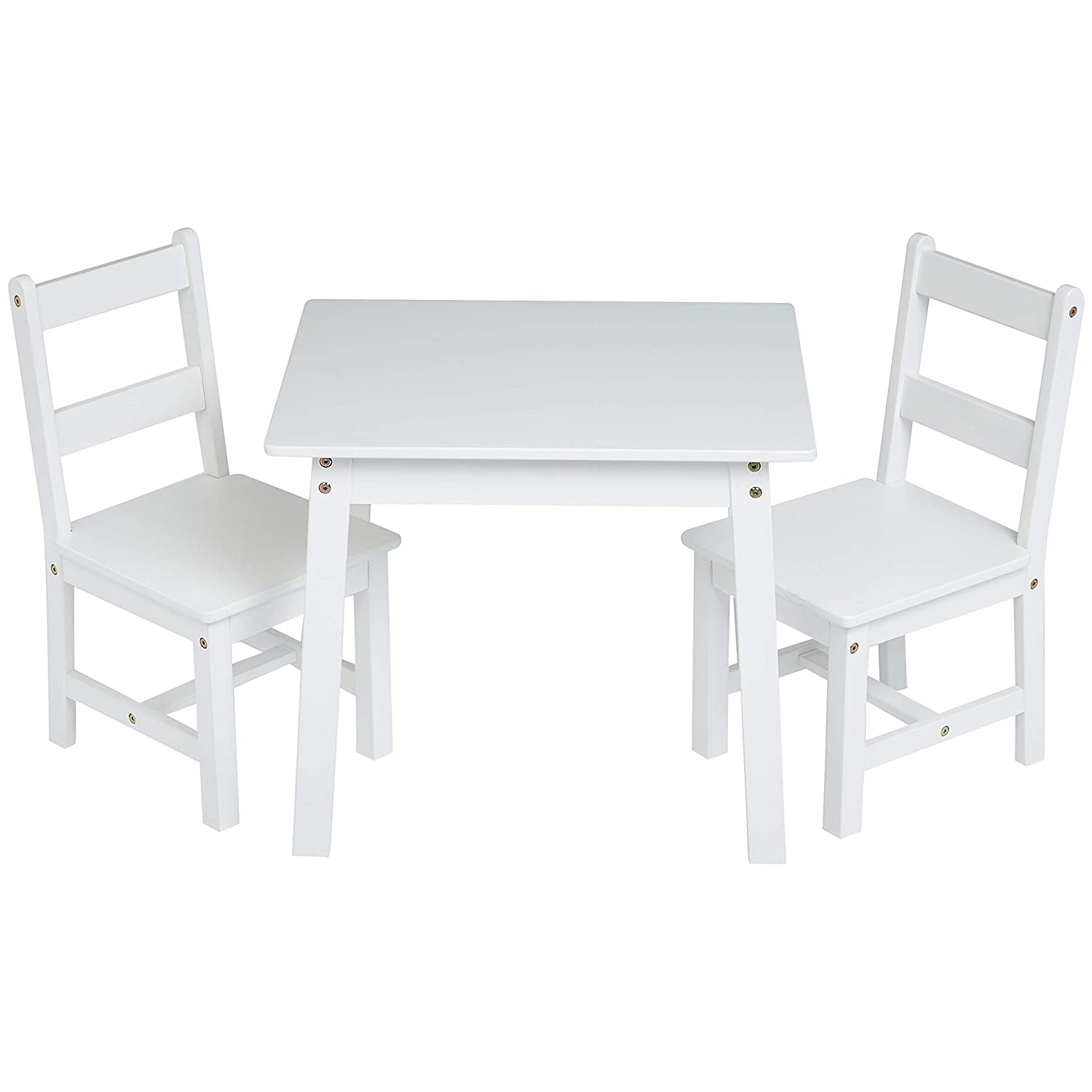 AmazonBasics Kids' Solid Wood Table and 2 Chairs Set, White