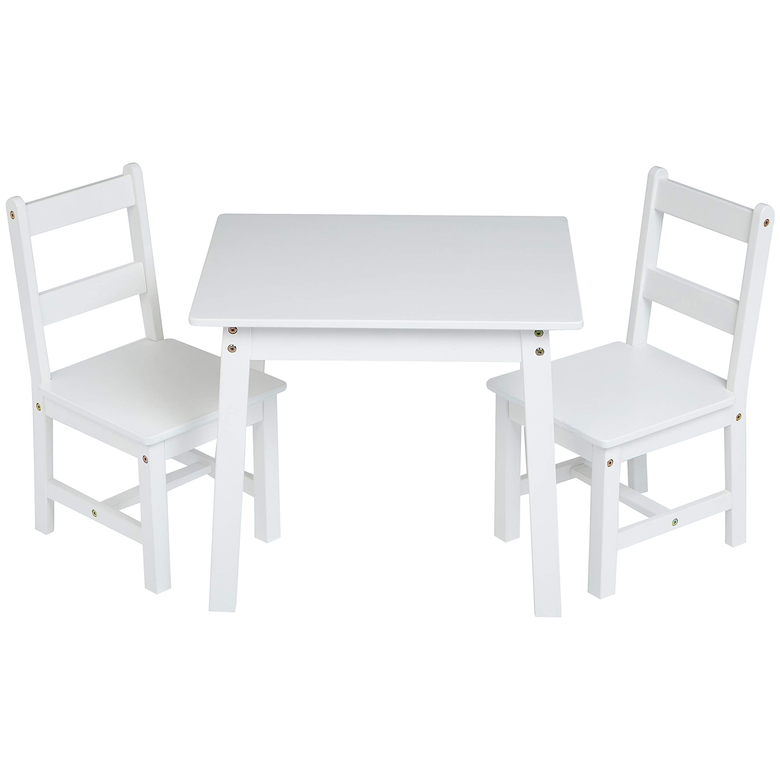 AmazonBasics Kids Solid Wood Table and 2 Chair Set, White by AmazonBasics