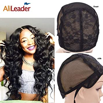 Amazon.com  Black Double Lace Wig Caps For Making Wigs Hair Net with  Adjustable Straps Swiss Lace Medium Size from AliLeader  Beauty 7c6e015accb6