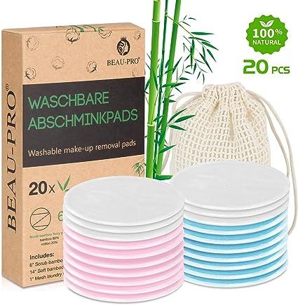 Discos Desmaquillantes de bambú reutilizables | 20 Almohadillas Maquillaje de algodón de bambú orgánico lavables con bolsa de lavandería, Ecológico/Cero Residuos/Para todo tipo de pieles: Amazon.es: Belleza