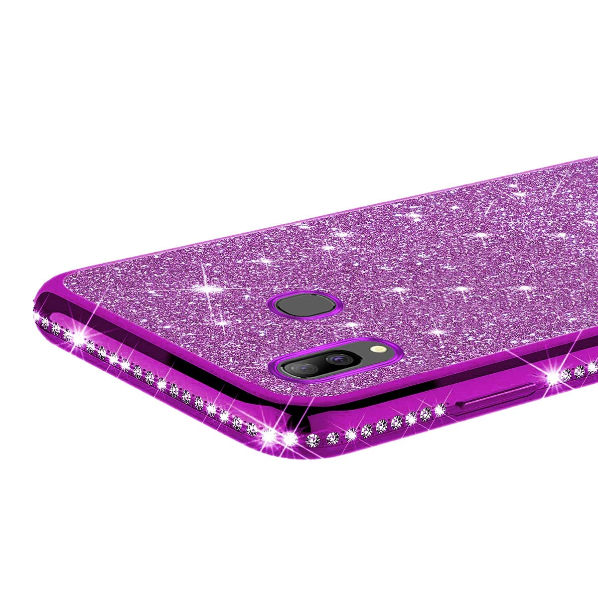Hpory Coque Compatible avec Samsung Galaxy A40 Housse Etui Brillant Bling Paillettes Coque de Protection Diamant a Strass Case Cover TPU Silicone Bumper Case Ultra Mince Antichoc Etui,dor