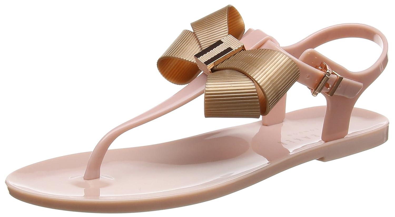 c07833a6f4fd Amazon.com  Ted Baker Women s Camaril Plastic Bow Flat Sandal Mink  Pink Rose Gold  Shoes