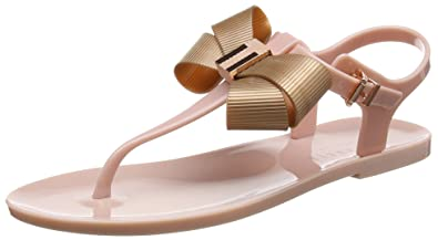 ab1065f77 Ted Baker Women s Camaril Plastic Bow Flat Sandal Mink Pink Rose Gold-Pink-