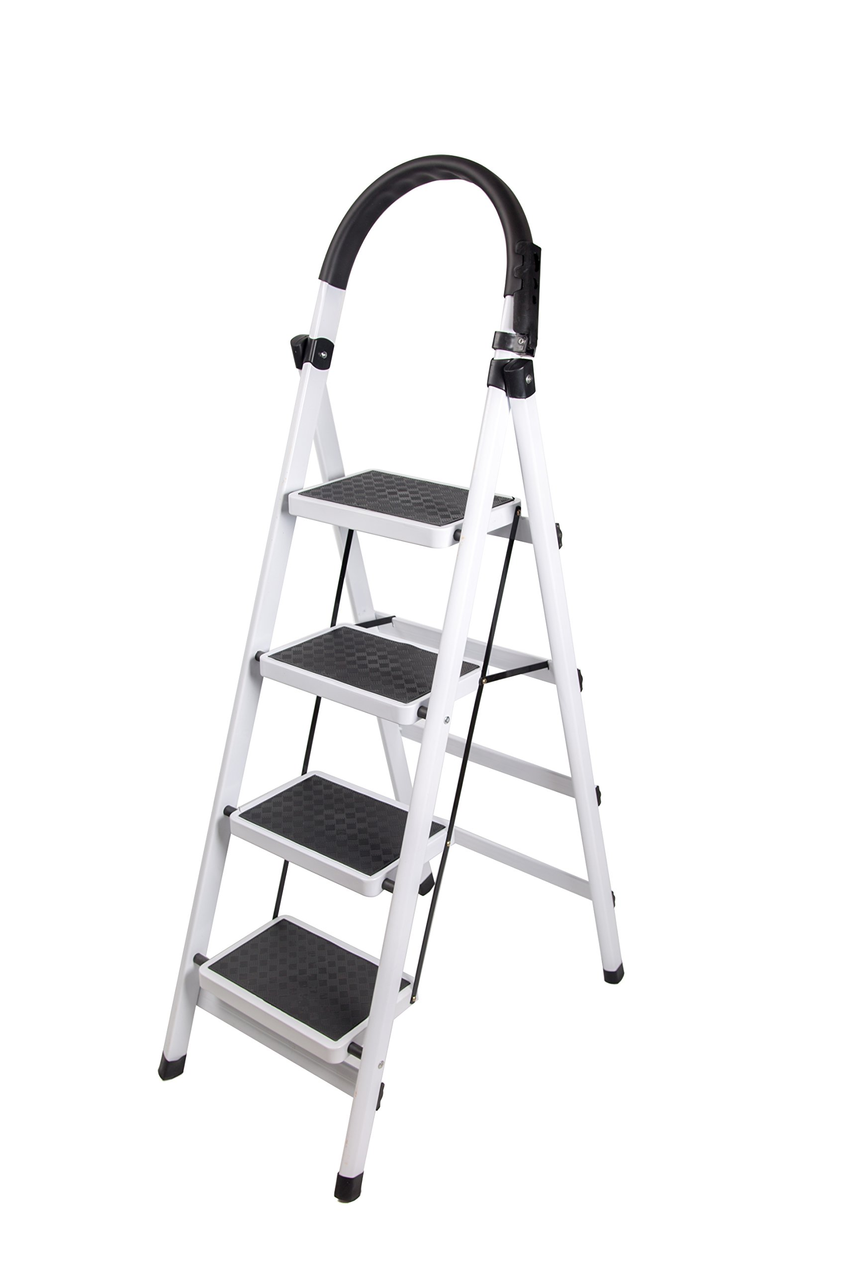 Gimify Household Folding 4-Step Ladder Steel Frame Stool 330lbs Capacity Platform Ladder Anti-Slip Sturdy Wide Pedal Portable Steel Step Stool White (4 step)