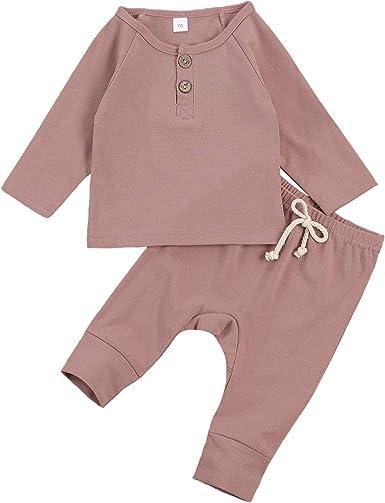 Baby Unisex Pajamas, Long Sleeve Sweatshirt Top with Pants Set 2 Piece Outfit Organic Cotton Clothing Set