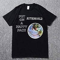 Astroworld Música Ocio Pull-Over Personalizado Ajuste Unisex Camiseta Moda Estrella Suelto Manga Corta/Negro/M