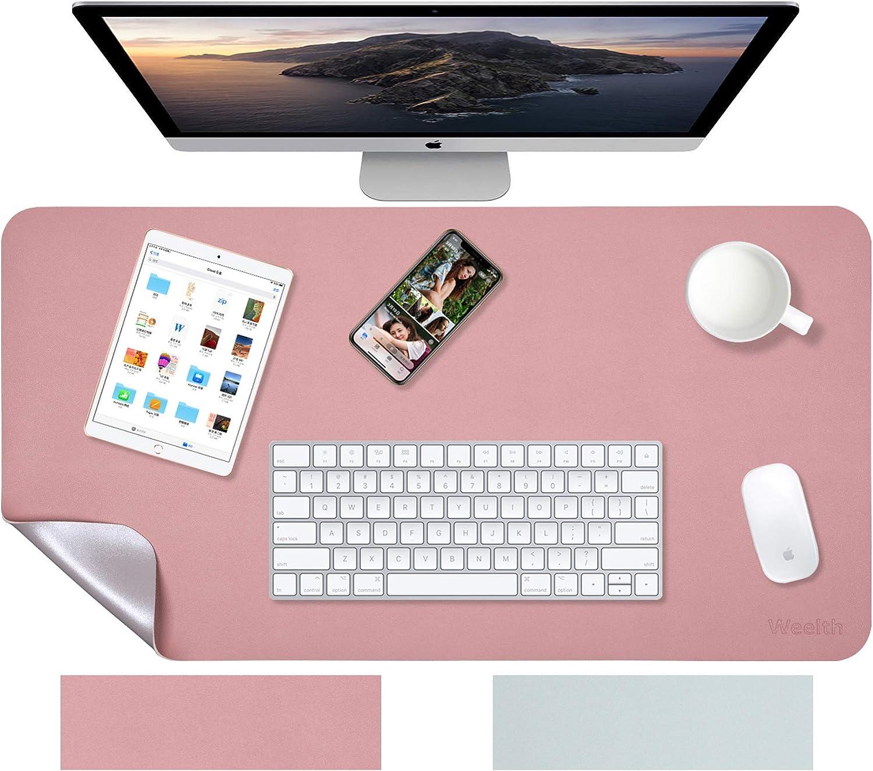 Weelth - Alfombrilla de Ratón 600x350mm, Estera de escritorio Antideslizante e Impermeable Cuero PU, Alfombrilla de escritorio de oficina, Doble cara