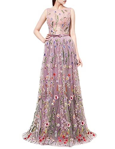 JoJoBridal Women's A Line Floral Long Formal Prom Dresses Eveing Gowns M183