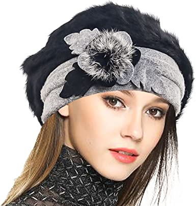 VECRY Lady French Beret 100/% Wool Beret Floral Dress Beanie Winter Hat Bow-Cream