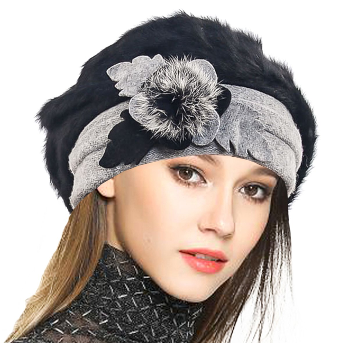 VECRY Lady French Beret 100% Wool Beret Floral Dress Beanie Winter Hat (Angola-Black)