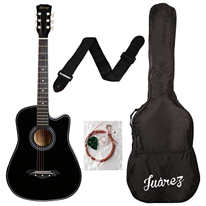Juarez Acoustic Guitar 38 Inch Cutaway 038c With Bag Strings Pick And Strap Black Amazon In Musical Instruments