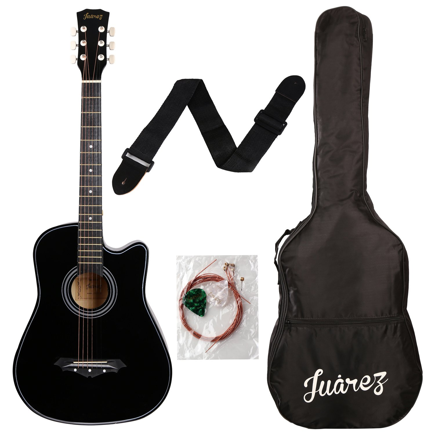 Juarez Acoustic Guitar, 38 Inch Cutaway, 038C With Bag, Strings, Pick And Strap, Black product image
