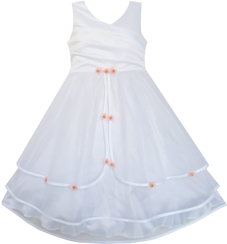 Sunny Fashion Girls Dress Flower Tulle Wedding Bridesmaid Pageant