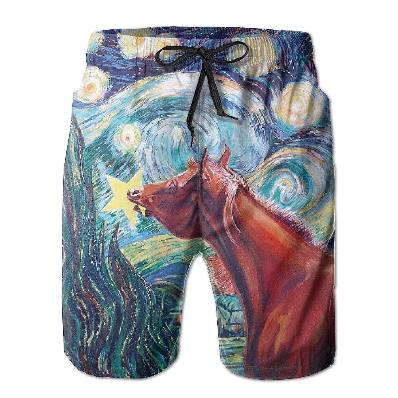 Mens Summer Beach Pant Van Gogh Starry Night Horse Surfing Board Pants Shorts | Amazon.com