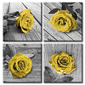 JiazuGo - Yellow Rose Flowers Wall Art Decor Black White Gray Still Life Pictures Canvas Print Framed Paintings for Outdoor and House Wall Decorations for Living Room Women Bedroom 12 x 12inch x 4