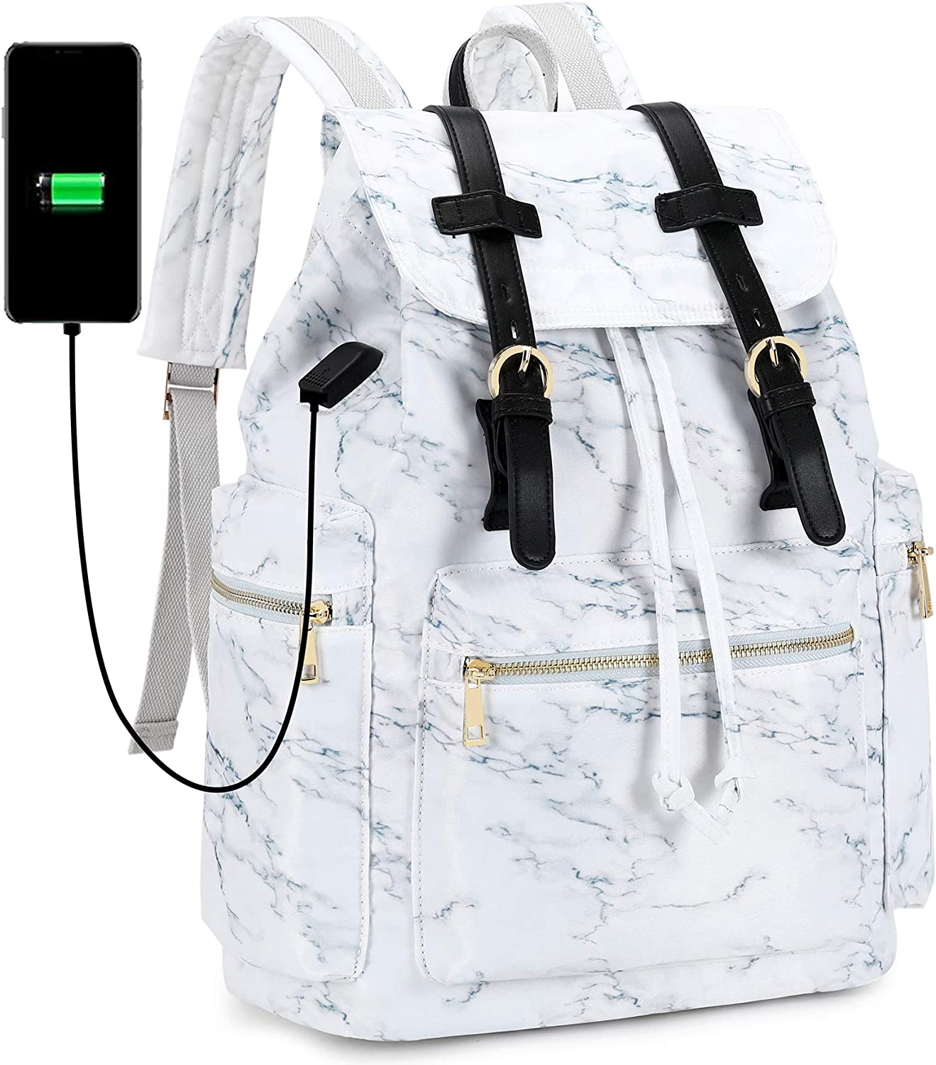 Travel Laptop Backpack for Women and Mens School College Bookbag with USB Charge Port for Notebook with Trolley Sleeve on Suitcase (Marble white)
