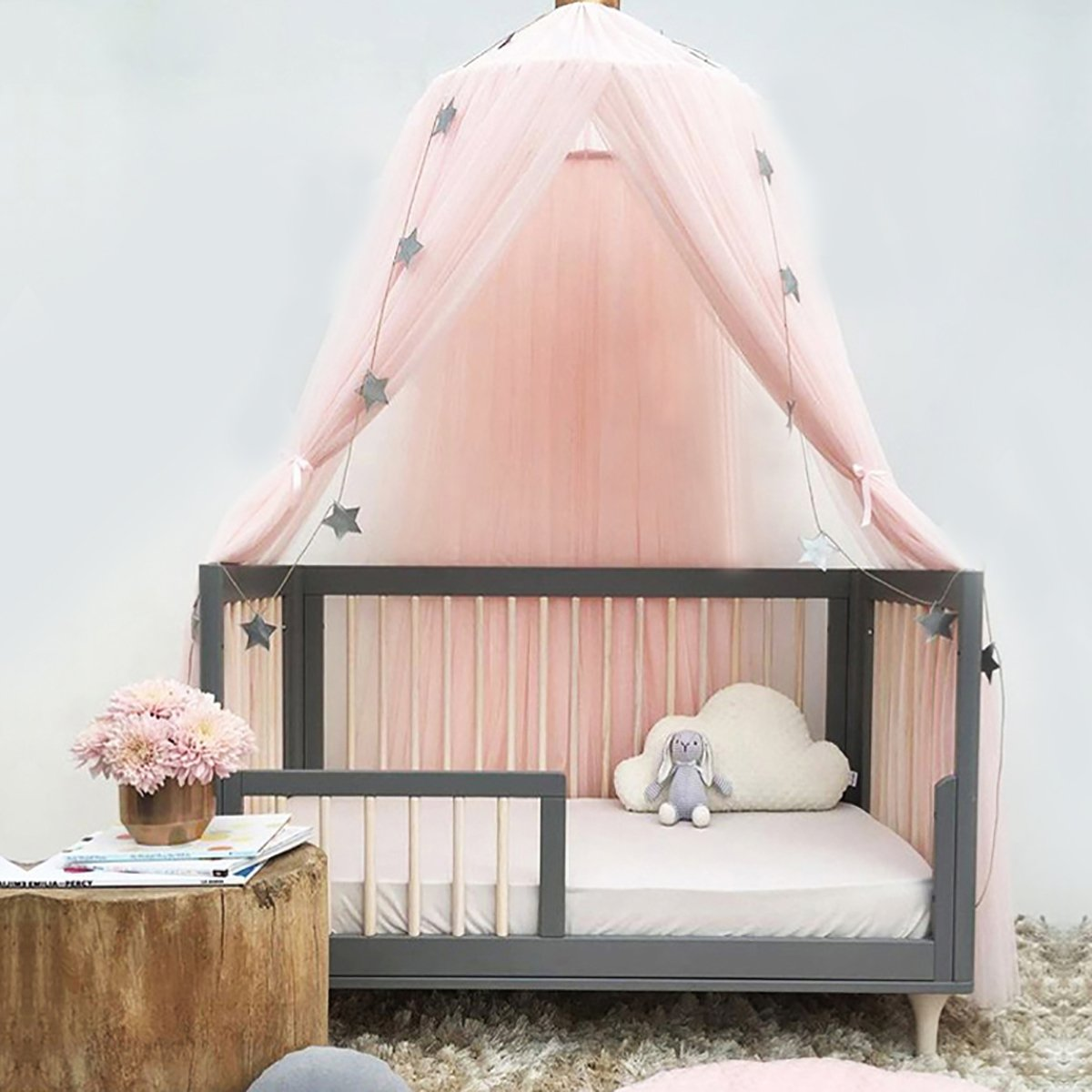 Jeteven Polyester Dome Princess Bed Canopy Kids Play Tent Mosquito Net with Crown for Baby Kids Indoor Outdoor Playing Reading Height 240cm/94.5in Pink