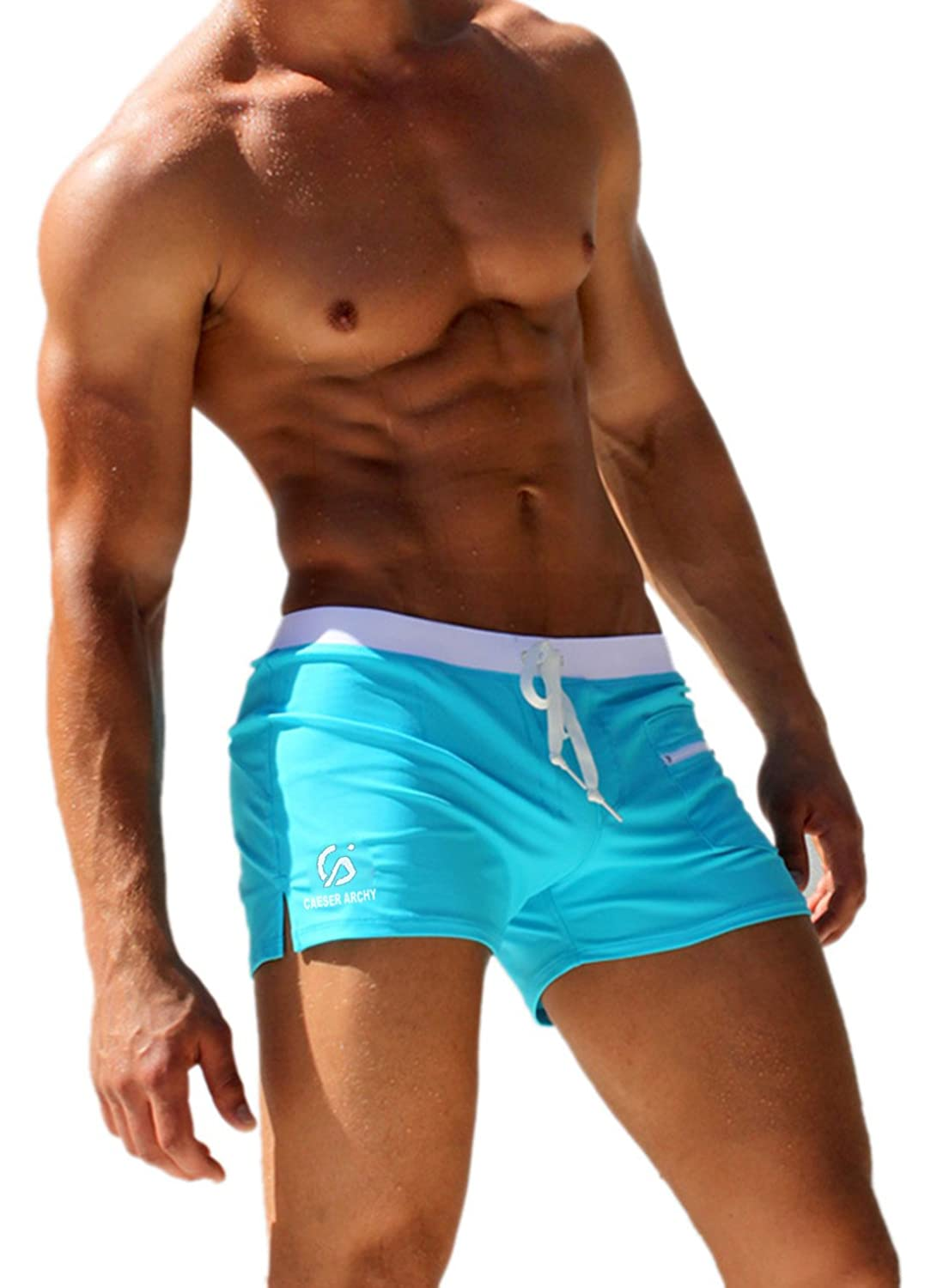 Caeser Archy Men's Swimming Trunks Boxer Brief Swimsuit 20160505