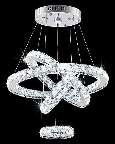 Modern Crystal Chandeliers DIY 4 Ring Chandelier Light Fixture Modern Crystal Led Hanging Ceiling Light Contemporary Pendant Lighting