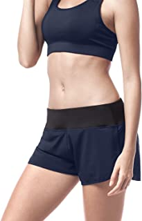 LAPASA Active - Quick Dry Women's Shorts Running Workout Gym. High Waisted, Wide Band, Zipper Pocket L13