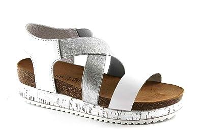 Grunland Grünland SIME SB0694 femme blanche sandales coin élastique Bianco - Chaussures Sandale Femme