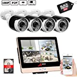 ANRAN POE Surveillance Security Camera System 1080P 8Channels 12inch LCD Video Recorder DVR Kits w/ 4PCS 2.0 Megapixels Network PoE CCTV Bullet Camera 3.6mm Lens Outdoor Indoor IP66 1TB Hard Drive