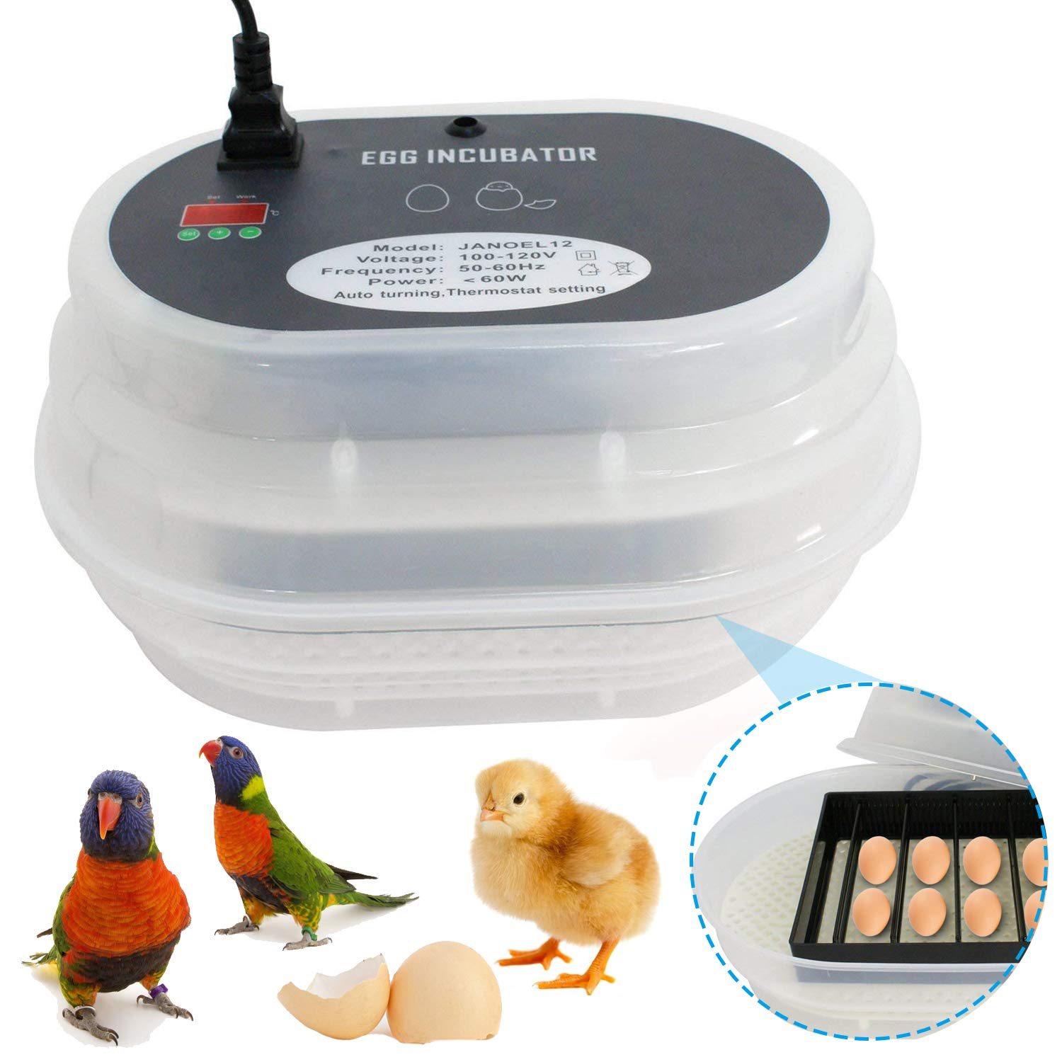 Smartxchoices Mini 9-12 Egg Incubator with Automatic Egg Turning and Humidity Control Digital Fully Automatic Poultry Hatcher for Chickens Birds Quail