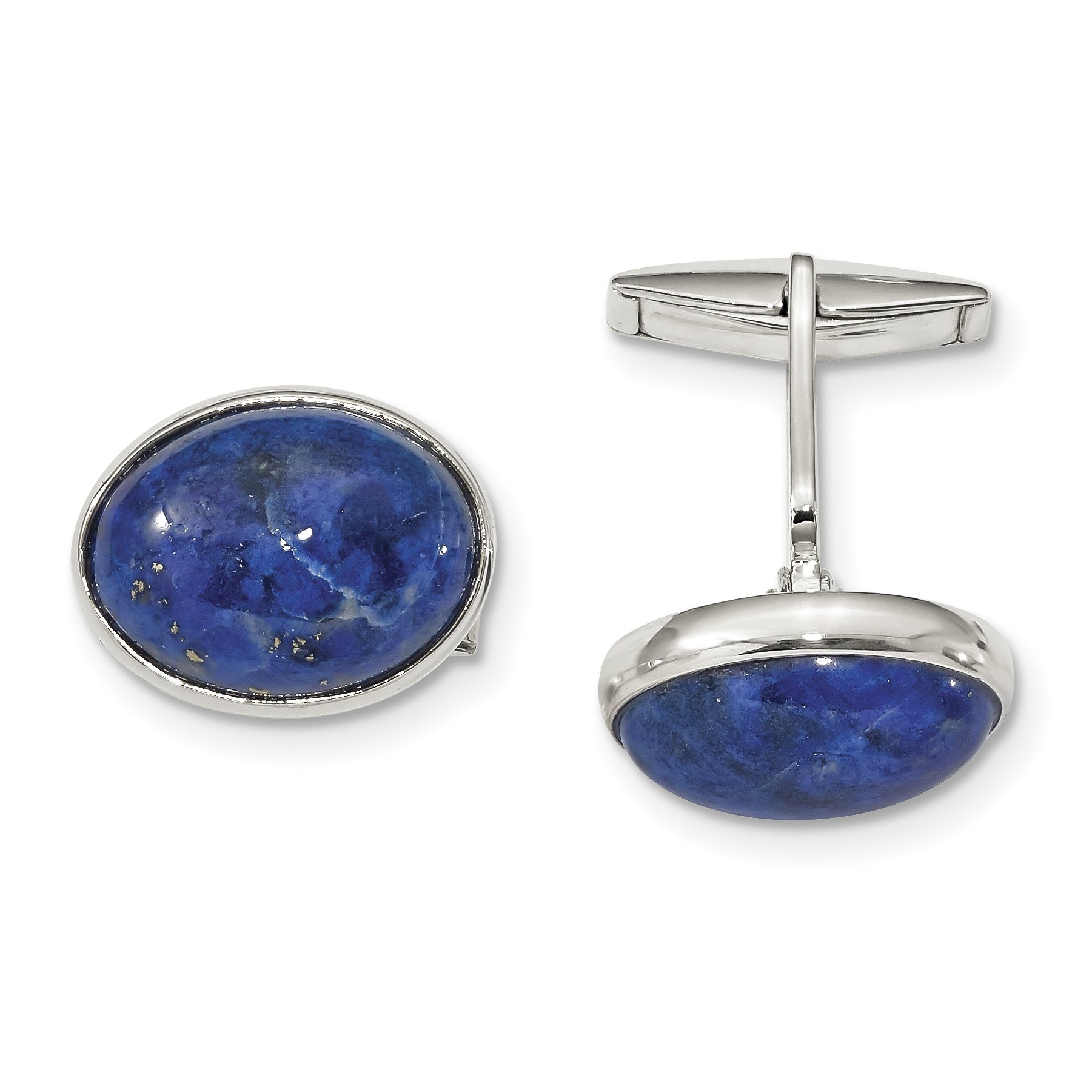 ICE CARATS 925 Sterling Silver Cabochon Lapis Cuff Links Mens Cufflinks Link Fine Jewelry Dad Mens Gift Set