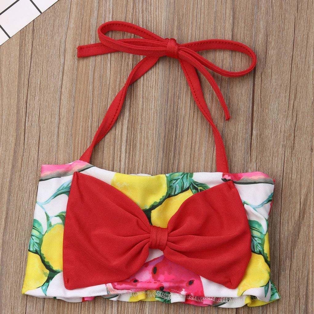 Watermelon Lemon Print Bottom Swimsuit Bathing Suit Toddler Baby Girls Bikini Sets Matching Red Bowknot Halter Top 6M-4T