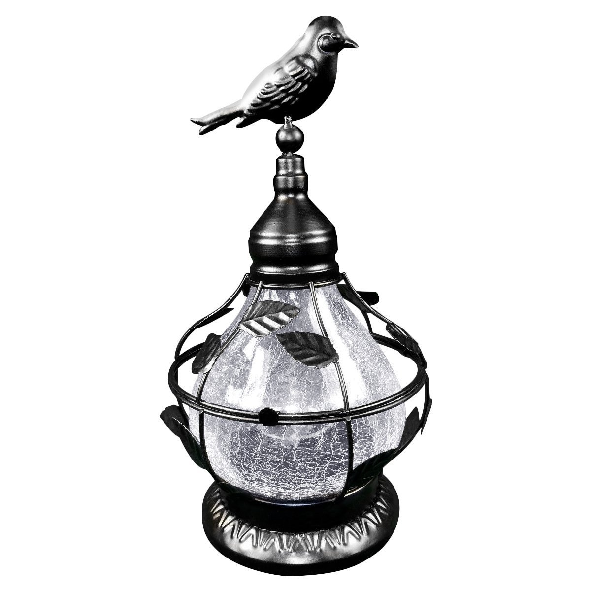 Solar Table Top Lamp, Bird Theme With Rotating Light, Crackled Glass - Black.