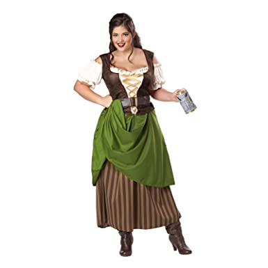 california costumes plus size tavern maiden costume olivebrown 1xl 16