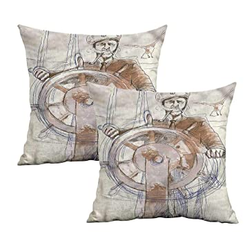 Amazon.com: Khaki Home Funda de almohada cuadrada náutica ...