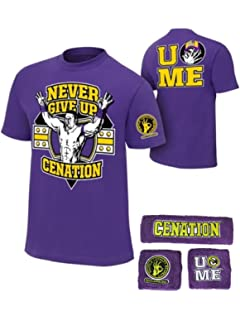 wholesale dealer 3e5e8 f2c82 John Cena Boys Purple Cenation Kids WWE Costume T-shirt Wristbands