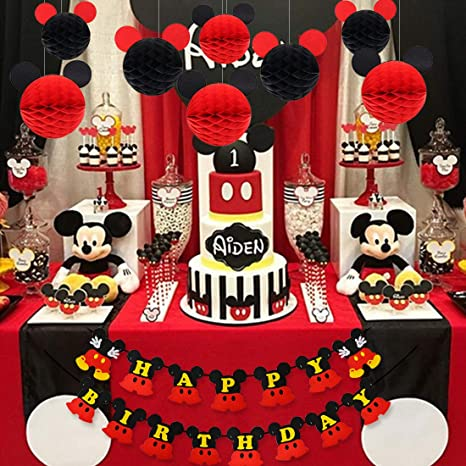 Mickey Mouse Birthday Decorations, Black Red Mickey Paper Honeycomb Balls, Happy Birthday Banner, Cake Topper for Mickey Mouse Themed Party