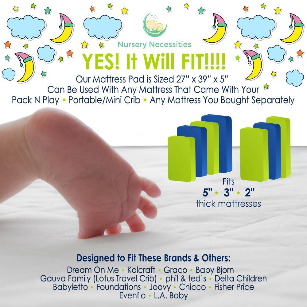 amazoncom 1 best pack n play waterproof mattress pad fits all mini portable crib mattresses silky soft machine wash u0026 dry by