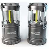 HeroBeam 2 x LED Lantern - Latest COB Technology emits 300 LUMENS! - THE ORIGINAL Collapsible Tough Lamp with Magnetic Base - Great Light for Camping, Fishing, Shed, Festivals - (TWIN PACK)