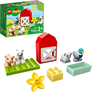 LEGO DUPLO Town Farm Animal Care 10949 Imaginative Build-and-Play Toy for Toddlers; Buildable Farm Playset with 4 Animal Figures – a Duck Toy, Cat Figure, Pig Toy and Sheep Toy, New 2021 (11 Pieces)
