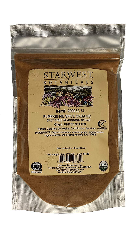 Starwest Botanicals, Organic Pumpkin Pie Spice, 4 oz